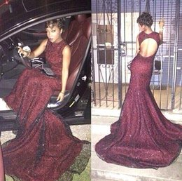 2016 Sexy New Sleeveless Burgundy Sequins Mermaid Evening Dresses Lace Backless Floor Length Party Prom Gowns 7331