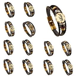 Constellation Bracelets for women Retro Zodiac leather bracelets Men's Alloy Woven Bracelets
