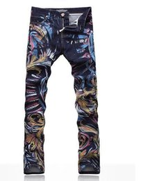 Wholesale Men s Fashion Jeans Male Slim Colored Drawing Flower Printed Long Trousers Painted Pattern Print Denim D Jeans Don t Fade High Quality