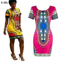 Wholesale S XL Dashiki Women Summer Dress African Tranditional Print Robe Ladies Dresses Folk Art African Plus Size Dress Clothing