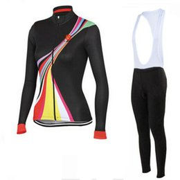 Wholesale Castélli Cycling Jerseys Set Women Black Long Sleeve Ropa Ciclismo Autumn None Fleece Winter Fleece Bicycle Clothing Padded Bib None Bi