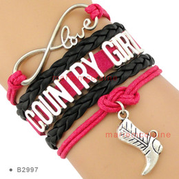 Infinity Love Country Girl Charm Cowboys Boot Bracelets Wrap Leather Wax Hot Pink Black Women Fashion Gift Custom Design Drop shipping