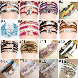 Wholesale 44 different Styles Charm Bracelet DIY Infinite Believe Games Anchor Love Jesus Owl Multilayer Pattern Leather Bracelets DHL