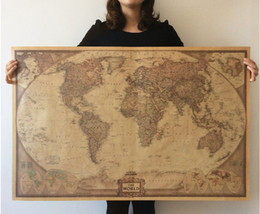 Wholesale Vintage World Map x27 x19 Inches Hot Home Decor Kraft Wallpaper Poster Decoration Decals