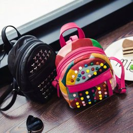 New color Collision Rivet leather small travel bag backpack girl designer backpacks fashion backpacks for women school backpacks teenagers