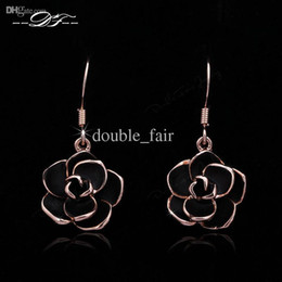 Romantic Rose Flower CZ Diamond Inlaid 18K Gold Plated Drop Earrings Fashion Brand Crystal Jewelry For Women Gift brincos DFE089