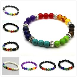 Wholesale Fashion Design Mens Bracelets Black Lava Chakra Healing Balance Beads Bracelet For Men Women Rhinestone Reiki Prayer Yoga Bracelet Stones