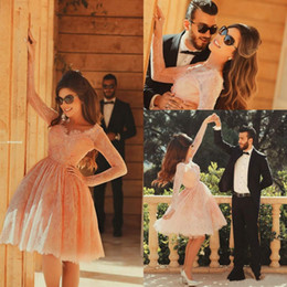 Wholesale Blush Pink Long Sleeve Short Homecoming Dresses Said Mhamad Eyelash Lace V Neck Empire Waist Junior Graduation Gowns Knee Length Party