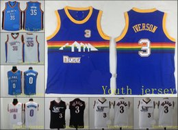 Wholesale A1 Have logo Allen Iverson ers Oklahoma City Kevin Durant Russell Westbrook Thunder Denver jersey kids and youth