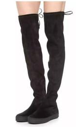 high quality~ U508 40 GENUINE LEATHER PLATFORM STRETCH THIGH HIGH FLAT BOOTS SW BLACK BROWN LACED