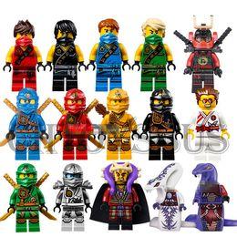 Wholesale 15pcs NINJAGO Minifigures Cole Kai Jay Lloyd Nya Skylor Zane Pythor Chen Building Blocks Figures Toys