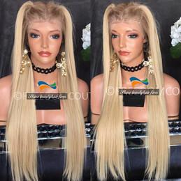 Cordón lleno recta superior de seda en Línea-Premium Virgen Remy Pelo Blonde Seda Top Glueless Full Lace Wigs 150% Density brasileño pelo rubio recto Lace Front pelucas con raíces oscuras
