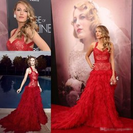 Wholesale 2016 Oscar Cannes Film Festival Blake Lively in Monique Lhuillier Red Lace Celebrity Evening Dresses Hot Sexy Ball Gown Prom Party Dress