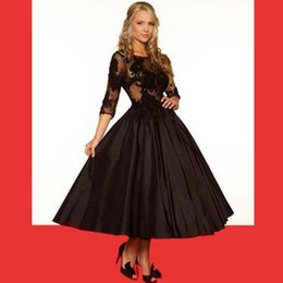 New 2016 Black Chocolate Long Lace Sleeves Tea Length Ball Gowns Back See Through Taffeta Sexy Lace Evening Dresses