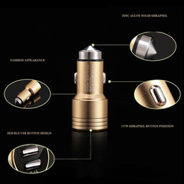 High Qualtity Cell Phone Car Chargers Colors Aluminium Alloy Safety Hammer Metal Fast New Style LED Light Double Plug Charger