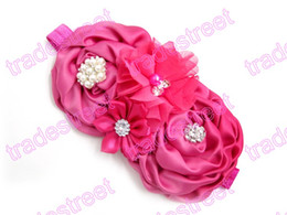 Free shipping 50pcs Baby Headbands Big Flower Lace Baby Hair Band With Pearl Baby Girl Hair Accessories Infant Turban Headband