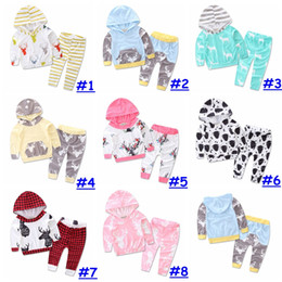 Wholesale New styles Baby Christmas moose Print Outfit Autumn Winter Toddle Cute set Long Sleeve Hooded deer pattern Tops Pants Sets