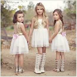 Retail Girls Sequined Lace Princess Dress Children Summer Lace Net Yarn Sleeveless Vest Dress With Bowknot Cute Girl Kids Halter Dress