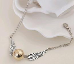Wholesale 2016 Harry Potter snitch silver wing braclet pendant link chains sweater hand chain antique cooper antique silver smart bracelet