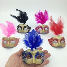 Wholesale on sale Supper Mini Mask Venetian Masquerade Feather Mask party decoration cute wedding gift Carnival Mardi Gras Prop mix color