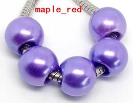 Wholesale 100 PCS purple Shiny Imitation Pearl European Big Hole Beads Fit European Bracelet and Necklace