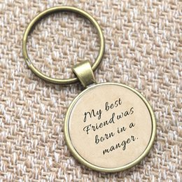 Wholesale 12pcs Bible keyring my best friend was born in a manger Print keyring Glass Photo Christian keyring
