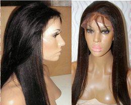 Yaki straight Glueless Full lace wig &Front Lace wig Brazilian human hair Freeshipping