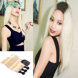 Peruvian Hair With 4*4 Lace Closure 4Pcs Lot Straight With Closure 1B 613 Omber Color Human Hair Bundles With Closure