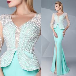 Latest 2016 Mint Green Satin Front Split Evening Dresses Sexy V-Neck Illusion 3 4 Long Sleeves Pearl Beaded Peplum Dress Evening Wear EN6175