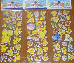 Wholesale Poke Pikachu Sticker cm D Cartoon party Decor book Stickers Avenger paper game children s sticker toys more styles LC404