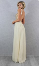 Top Sequins High Neck Cheap Bridesmaid Dresses Floor Length Long Chiffon Open Back Wedding Guest Dress