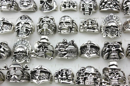 New Top 20pcs Retro Skull Skeleton Gothic Alloy Rings Wholesale Punk Style Rings For Mens