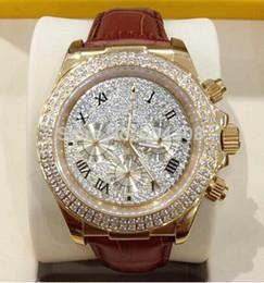 NUEVO 2015 HOT- el nuevo oro de lujo 18k Rose del diamante pavimenta el dial 116509 del diamante El deporte Wr de los hombres automáticos de la correa de cuero del reloj del Mens desde wr s proveedores