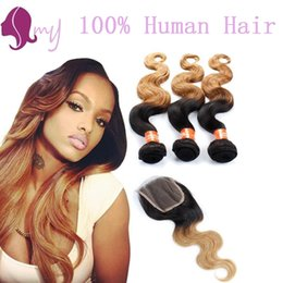 Ombre Brazilian Hair With Closure #1B 27 Human Hair Bundles With Lace Closures Brazilian Human Hair Weave With Closure Body Wave