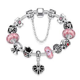 Wholesale-fashion ruby stone charm bead bracelets 925 sterling silver jewelry pink natural stone vintage DIY s Charm bracelets