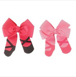 Wholesale 15 off inch handmade Sweet Ballerina shoe cheerleading Ballet Bowknot hair clip Grosgrain Ribbon Hair Bow hairpin For Baby Girls
