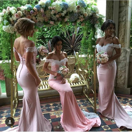 Long Mermaid Bridesmaid Dresses Off the Shoulder with Lace Appliques Stain Skirt Covered Buttons Formal Maid of Honor Gowns Custom BO9266