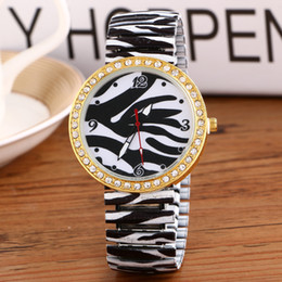 Luxury Watches Women Brand New Print Fashion Casual Elastic Stainless Steel Analog Watch Round Dial Dress Watch for Woman