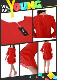 Wholesale Women Girls Mini Casual Chiffon A Line Dress Short Skirts Flounced Half Sleeve Flared Cuffs Round Neck Red Black ED000001