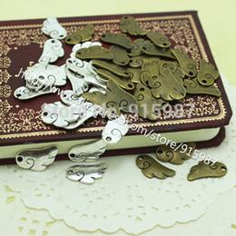 Promotion boutiques de charme 100pcs / lot 18 * 9mm Deux ange de couleur Pendentifs Charm ailes pendentifs Bijoux Bijou Fit Faire du shopping gratuit