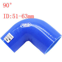 """Blue Universal ID:51mm-63mm ID:2""""-2.5"""" Silicone 90 Degree Elbow Reducer Turbo Pipe Hose Air Intake Pipe Intercooler silicone pipe Universal"""