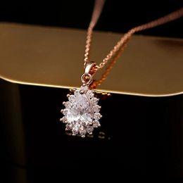 Wholesale Real gold plating jewelry supplier spot low price AAA zircon water drop pendant Korea necklace