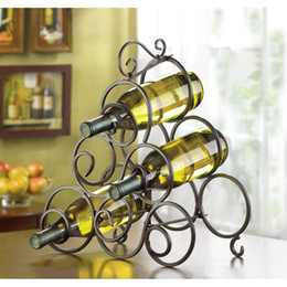 Wholesale Wrought Iron Tabletop Wine Rack Holds Bottles