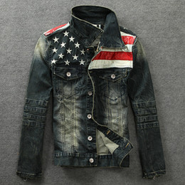 Wholesale Fall new Denim jacket PU leather patchwork distressed antique mens denim jean jacket