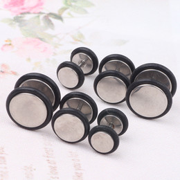 316L Stainless Steel Fake Cheater Mens Ear Plug Earring Stud Stretcher 60pcs mix6 8 10mm with O ring piercings