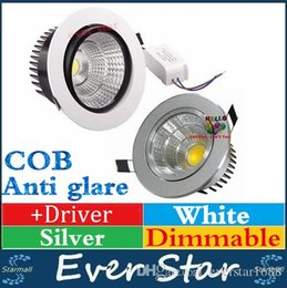 Wholesale Anti glare W W W W Dimmable COB Led Downlights Recessed Ceiling Lights CREE Led Down Lights Silver White Shell AC V