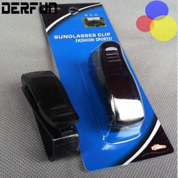 Wholesale Universal Car Sunglasses Holder Fashion Black Sun Visor glasses Ticket Receipt Card Clip Storage Retail Package