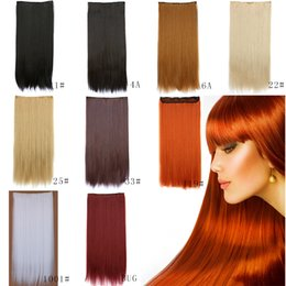 Wholesale Long Straight Hair Women Clip In Hair Extensions Natural Hair Extensions Clip Ins Brown Black Red Gray Ombre Braiding Hair