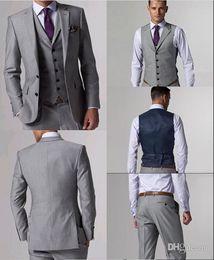 Wholesale Custom Made Side Vent Groom Tuxedos Light Grey Best man Suit Notch Lapel Wedding Groomsman Men Suits Bridegroom Jacket Pants Vest J156
