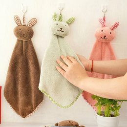 Wholesale High Quality Baby Towel New Cute rabbit Baby Hand Towel Soft Children s Cartoon Animal Hanging Wipe Bath Face